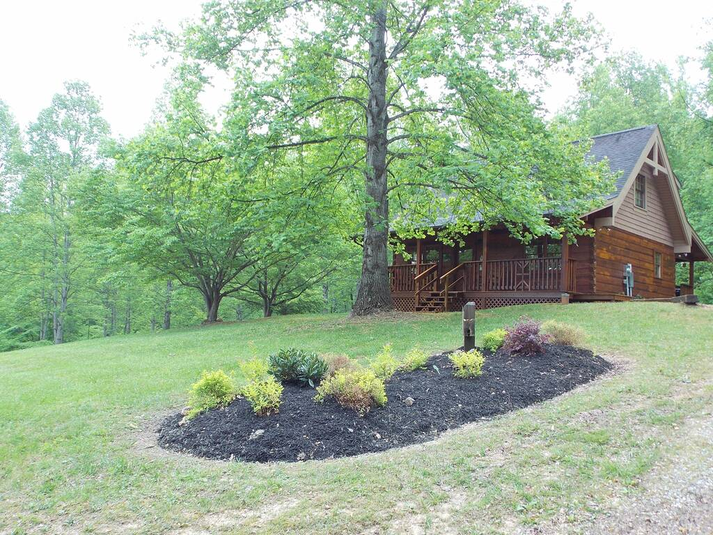 Wooden Cabin With a Lawn